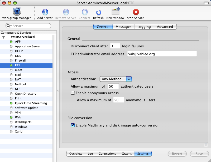 ftp server mac os 10.4