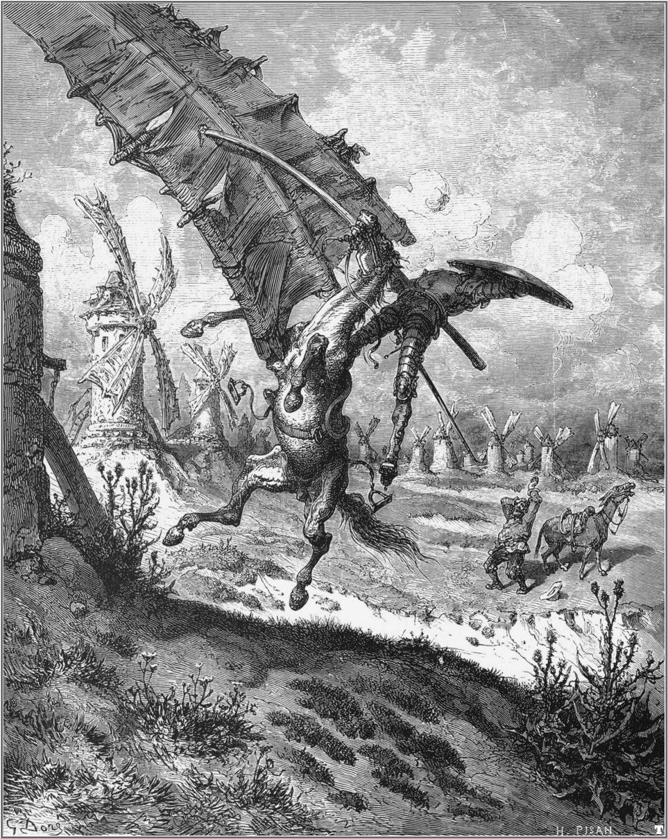 Don Quixote 6 tilting at windmills by Gustave Dore
