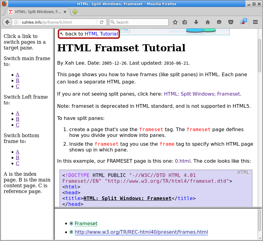 HTML: Split Windows; Frameset