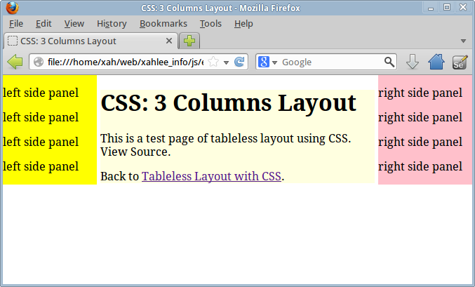 Panel Css Layout Css 3 Columns Page Layout