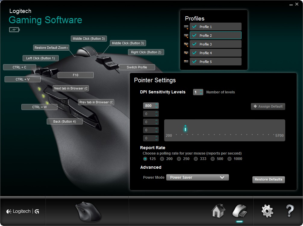 Logitech G700 mouse software