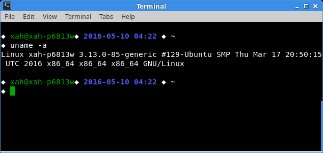 linux terminal uname 2016-05-10