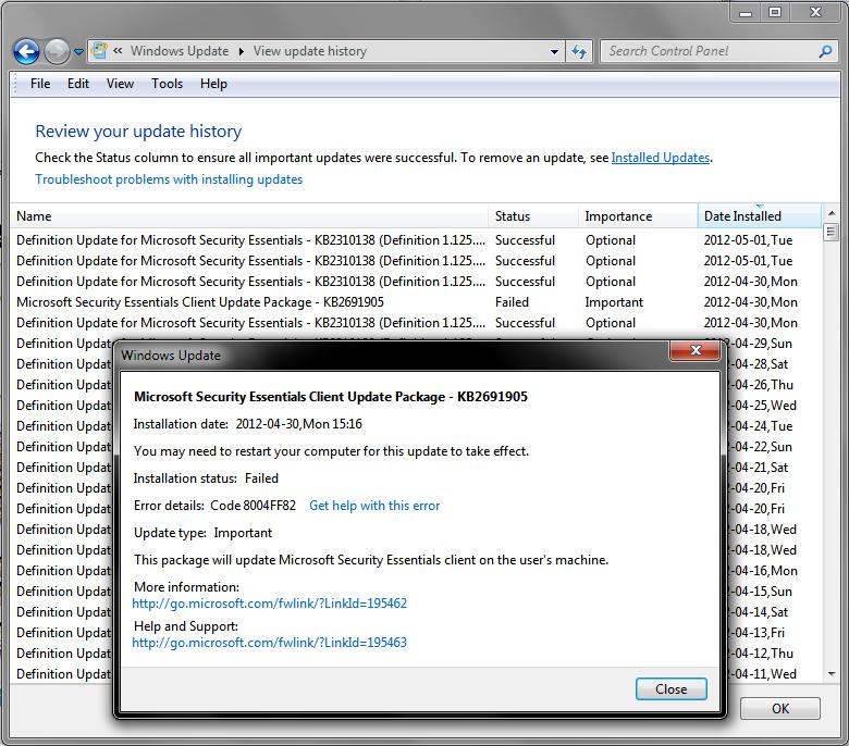 Microsoft Windows Update Fail KB2691905