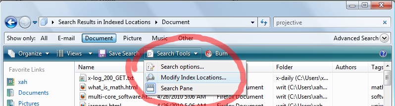 how to stop outlook indexing