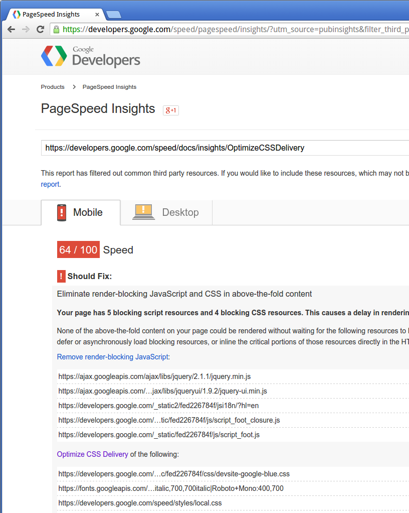 Google's PageSpeed Insights Fails Its Own Site